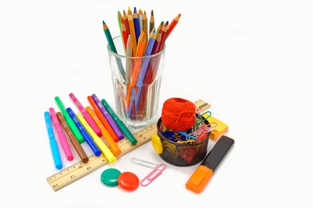School and office supplies on white background  Stock Photo