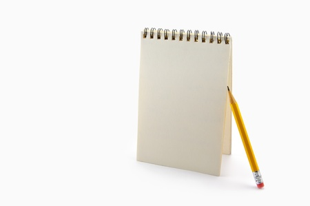 Notepad and pencil on the white background  Stock Photo - 12861327