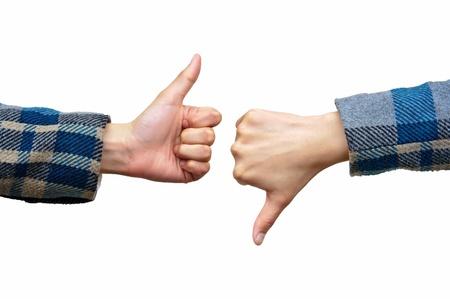 pollice in gi: Pollice su e pollice gi� segni della mano isolato su bianco