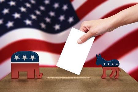 ballot papers: Hand with ballot and wooden box on Flag of USA, party icon Editorial