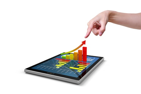 Hand pressing a 3d chart on tablet