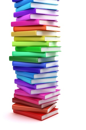 pile of papers: Stack of colorful books on white background, side view Stock Photo