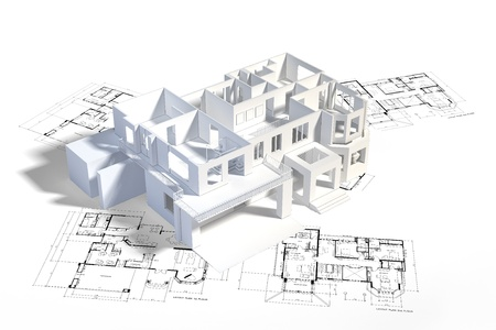 creation kit: House mock-up on top of architecture blueprints, construction drawings Stock Photo
