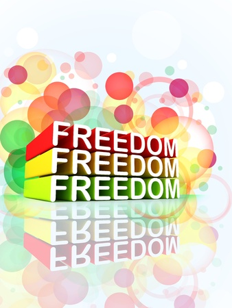Freedom colorful 3d message composition Stock Photo