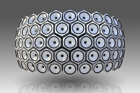 Many modern speakers on circle wall photo