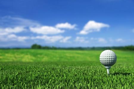 Golf ball on tee on the  green grass Stock Photo