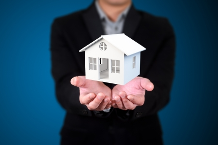 house in human hands, Businessman Stock Photo - 13621129