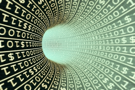 binary stream, abstract on the subject of business transactions, data processing, telecommunications and Internet Stock Photo