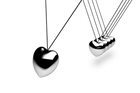 Hanging silver heart balls on white