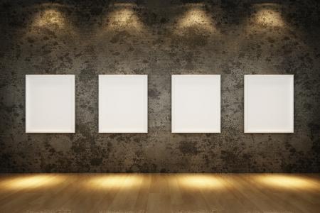 grunge interior: interior de grunge antiguo con marco blanco en la pared de concreto, piso de madera