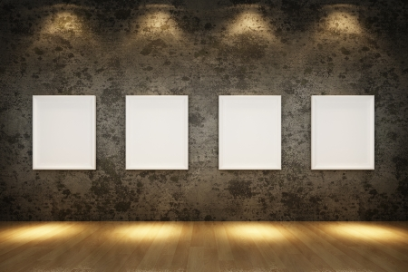 oude grunge interieur met witte frame op betonnen muur, houten vloer Stockfoto