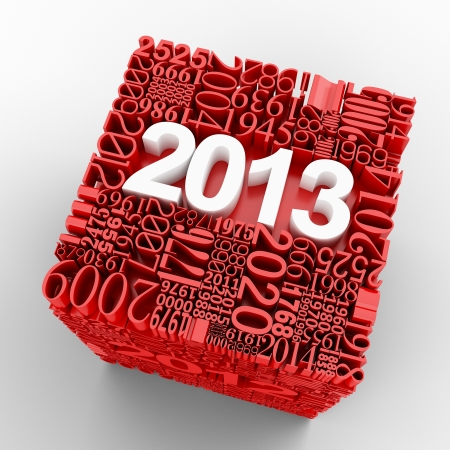 New year 2013  Cube of many year numbers  photo