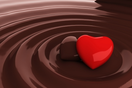 Chocolate heart in hot chocolate photo