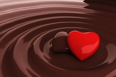 Chocolate heart in hot chocolate Stock Photo