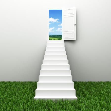 schody: Schody do nieba, wspina się po drabinie sukcesu