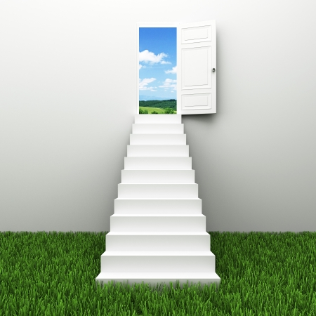 Stairway to the sky, Climbs to the ladder of success Stock Photo