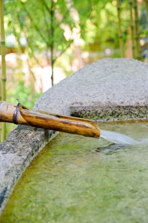 bamboo fountain: Traditional bamboo fountain of Japanese
