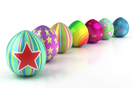 huevos de pascua: Coloridos huevos de Pascua aisladas sobre fondo blanco Foto de archivo