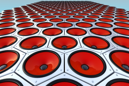 soundsystem: Many modern red speakers on wall, floor Stock Photo