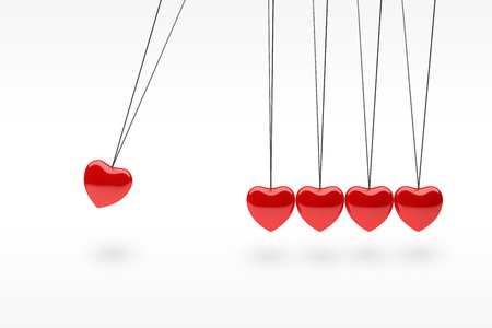 Hanging red silver heart balls on white Stock Photo - 13646327
