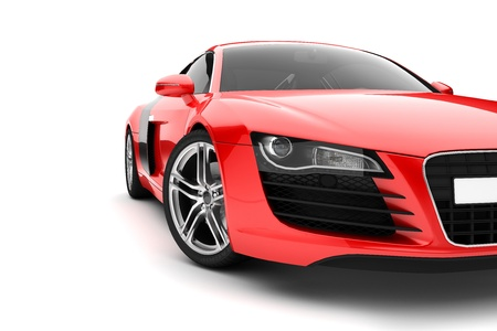 tune: Red sport car, front detail with big light-alloy wheel