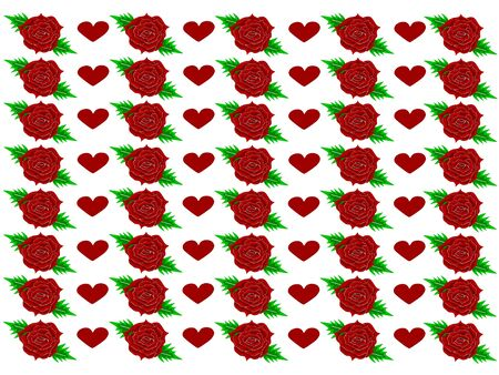 Red roses with red hearts in Vector