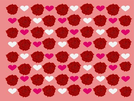 Patterns of beautiful red roses with pink background and white hearts in vector Ilustracja