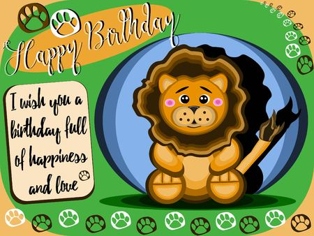 Childish birthday card of a cute stuffed lion sitting for children, all this in vector Illustration