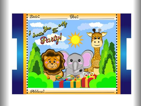 Animal birthday card for children with elephant, giraffe and leo animals, in addition to a background with sun and white clouds, trees, all kind of ticket and in vector perfect for babies