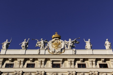 Fine art at the top of a part of Hofburg, Vienna photo