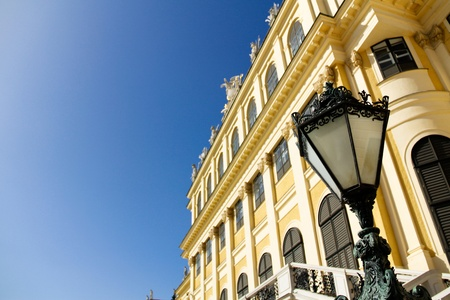A lantern in front of the famous main building in Schönbrunn, Vienna photo