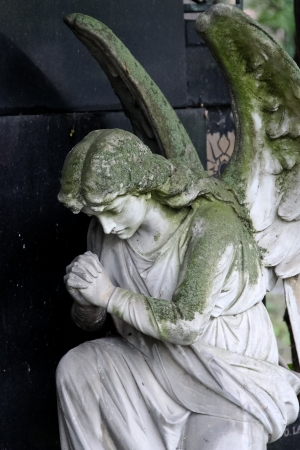 A praying angel in front of a tombstone in Viennas central cemetery photo