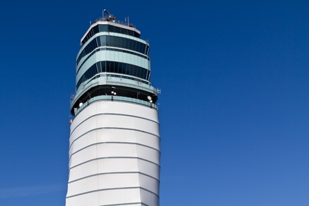 Isolated Vienna airport tower on a sunny dayy photo