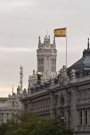 The Bank of Spain and Ayuntamiento in the center of Madrid photo
