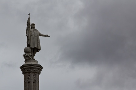 columb: A statue honoring Christopher Columbus in the center of Madrid Stock Photo