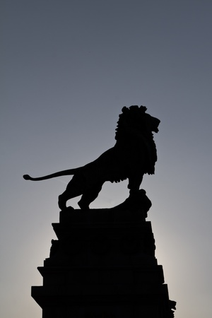A majestic pose of a bronze lion outside Vienna on a bridge Imagens