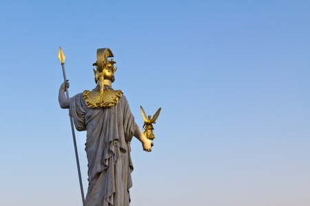 Pallas Athene, goddess of wisdom in front of the Austrian Parliament; shot taken from behind photo