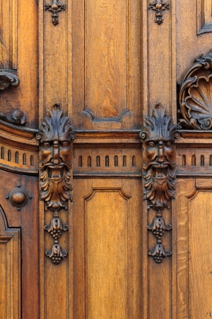 craftsmanship: Wooden craftsmanship on a wall in Graz, Austria Stock Photo