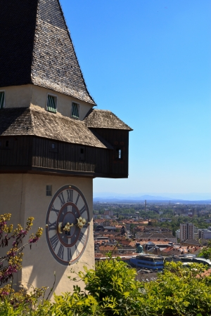 The famous landmark in Graz, the clocktower, on a sunny day