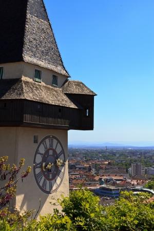 clocktower: The famous landmark in Graz, the clocktower, on a sunny day