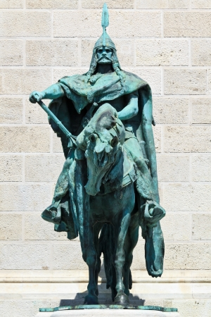 King Arpad on the millenium memorial in Budapest, Hungary photo