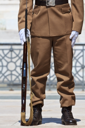 vintage military rifle: A hungarian soldier on guard at the millennium monument in Budapest, Hungary Stock Photo