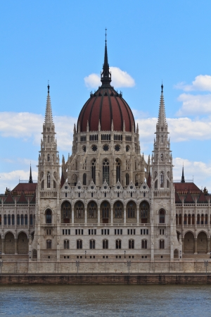 parliamentarian: The middle part of the hungarian parliament in Budapest, Hungary