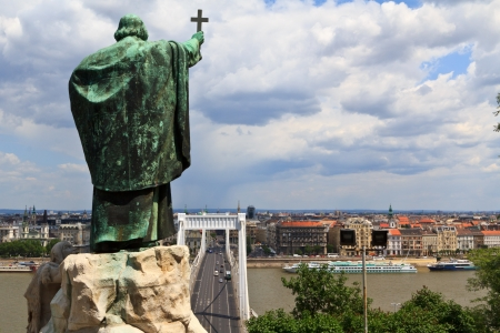 Bishop Gellert statue looking down on Erzsebet bridge to Pest part of Budapest, Hungary photo