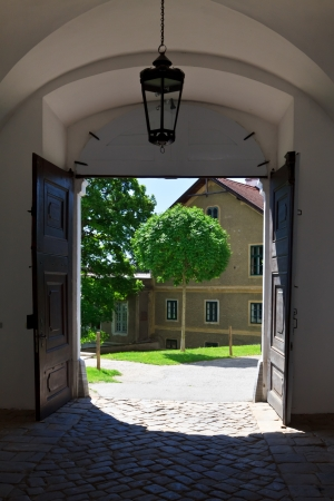 Gate in an old monastery in Herzogenburg, Austria photo