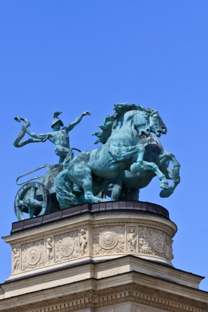 A heroic sculpture on the millennium monument in Budapest photo