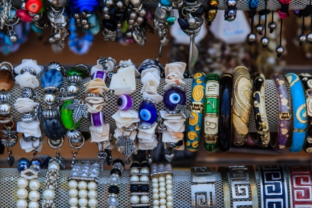A collection of cheap costume jewellery on a market in Agios Nikolaos, Crete photo