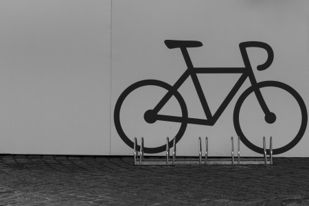 A bike parking opportunity with a symbol Imagens