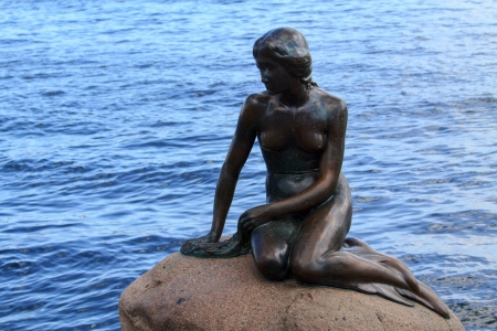 danish: Little mermaid, landmark in Copenhagen, Denmark Editorial