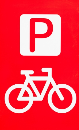 A bike parking sign in the center of malmö photo
